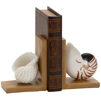 Elegant Polystone Shell Bookend Polyresin