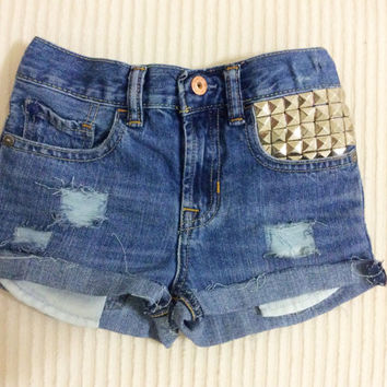 Distressed Denim Shorts/Silver Studs/Jean Shorts/Toddler/Baby Girl/Kid Shorts/Children 5T
