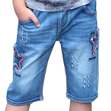 High Quality Child Kid Teen Boy Elastic Mid Waist Straight Patch Star Summer Denim Jeans Capris Cropped Trousers Pants
