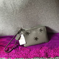 Coach Grey & Silver Stars Multi Leather Credit Card Corner Zip Wallet Wristlet