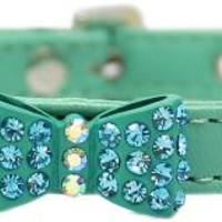 Bow-dacious Crystal Dog Collar Aqua Size 16