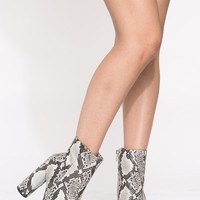 Grey Faux Snake Platform Booties @ Cicihot. Booties spell style, so if you want to show what you're made of, pick up a pair. Have fun experimenting with all we have to offer!