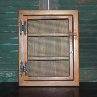 Country chic rustic wood cabinet with chicken wire mesh door, shelf, display, cupboard, kitchen storage, spice rack, medicine cabinet