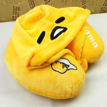 Candice guo! super cute plush toy lazy egg gudetama soft U shape pillow hooded neck protection birthday Christmas gift 1pc