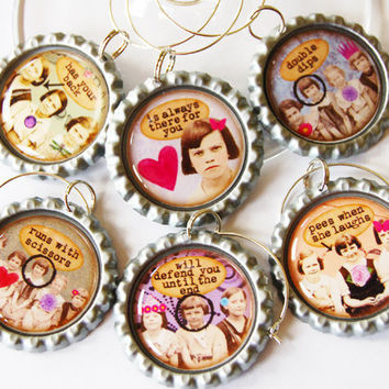 Funny Wine Charms, Sassy Women, Wine Glass Charms, Wine Charms, Humor, retro prints, bottlecap charms, ladies night, Friends