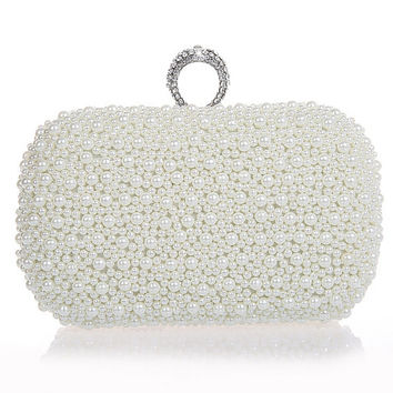 Bridal Clutch,Pearl Clutch, Ivory Clutch, Rhinestone Clutch,  Wedding Clutch Purse, Bridal Purse, Wedding Accessories