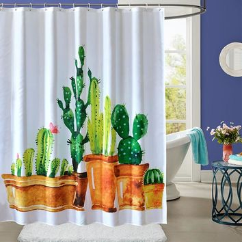 YUN YANG Quality Shower Curtain Cactus Pattern Thicken 3D Printing For Bathroom Waterproof Mildew Proof Polyester Shower Curtain