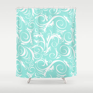 Floral Tiffany Blue Shower Curtain by Beautiful Homes