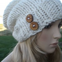 Winter Frost Cream White Slouchy Hand Knit Oversized Ribbed Woodsy Beanie Hat With Wood Buttons