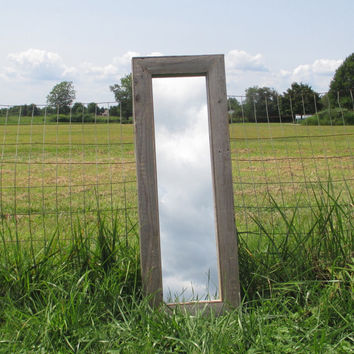 Rustic Floor Mirror Made From Reclaimed Wood