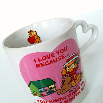 Vintage I Love You Because Garfield Mug