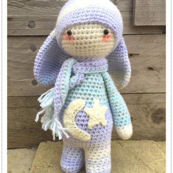 Handmade Crochet Amigurumi Rita Rabbit / Bunny Plush Doll  in pastel colours - Lalylala- cute Gift/keepsake idea - 10 inches tall