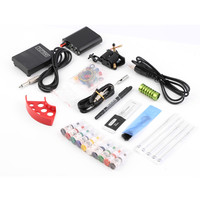 1Set Complete Tattoo kits Pro Gun machine Power Pedal 10 Color ink sets power supply disposable needle Grip Tip Hot Selling New