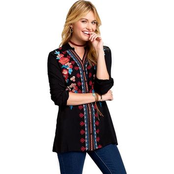 Embroidery Roll up Sleeve Top, Black