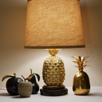 Vintage Gold Brass Pineapple Lamp Mauro Manetti Style Pineapple Lamp Ananas Pina Mid Century Hollywood Glam Palm Beach Decor