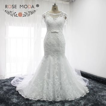 Rose Moda Lace Mermaid Wedding Dresses with Removable Cape Illusion Back Classic Wedding Gown with Bow Vestidos de Noiva
