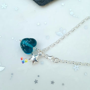 Sterling Silver Bracelet, Teal Heart Charm, Star Charm, London Blue Topaz heart, charm bracelet, star charm
