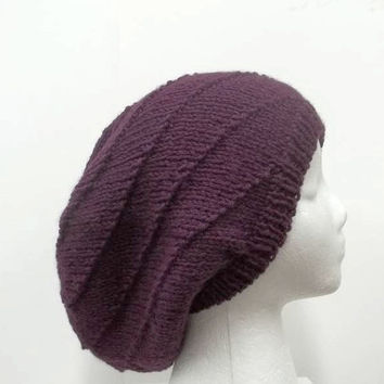 Slouchy beanie hat knitted purple swirl pattern men or women large size 5160