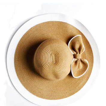 Papaya Clothing Online :: BIG BOW STRAW SUN HAT