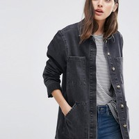ASOS Denim Drop Hem Workwear Jacket in Washed Black