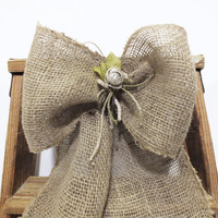 Burlap Church Pew Bows With Linen Flower And Rhinestone Accents Rustic Country And Shabby Cottage Chic Wedding Decor