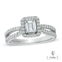 Vera Wang LOVE Collection 1 CT. T.W. Emerald-Cut Diamond Split Shank Ring in 14K White Gold - View All Rings - Zales