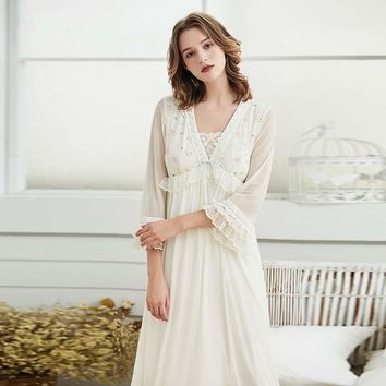 Summer Autumn Women's Sexy Nightgowns Viscose Long Sleeve Royal Elegant Female Princess Long Nightgowns Sleep Dress
