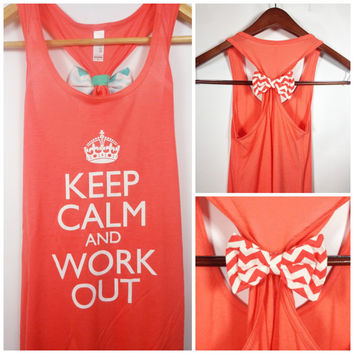 Keep Calm and Work Out, Chevron Bow, Bow Tank Top, Workout Tank, Crossfit Tank Top, Gym Tank