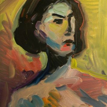JOSE TRUJILLO OIL PAINTING 16X20 PORTRAIT BUST CONTEMPORARY EXPRESSIONISM WOMAN