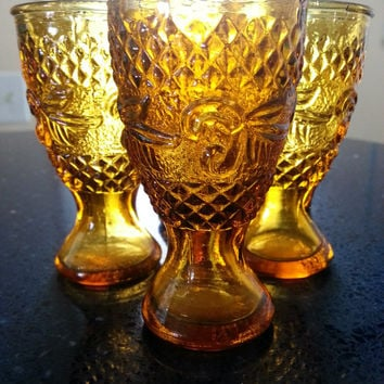 Vintage Sandwich glass goblets amber clear crystal emboss diamond point cordial liqueur glasses vintage glassware retro barware miniature