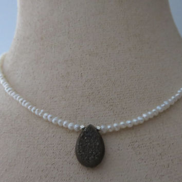 Black Druzy and White Freshwater Seed Pearls Sterling Silver Beaded Necklace