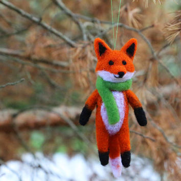 Needle Felted Fox, Felt Fox Ornament, Christmas Ornaments, Christmas Decorations, Christmas Gifts, Tree Ornaments, Fox Plush, Fox Doll, OOAK