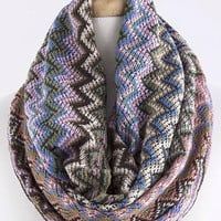 Multi Colored Chevron Infinity Scarf - Pink