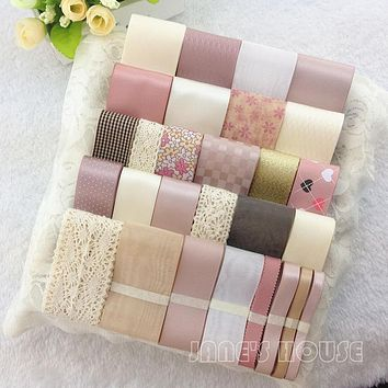 Sweet pink ribbon set grosgrain/satin ribbon cotton lace diy hair bow material accessories kit bow hairpin decoration