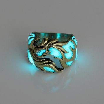 Sale 1PC 2018 Adjustable New Arrival Glow In The Dark Luminous Dragon Ring Women Men Jewelry Gifts