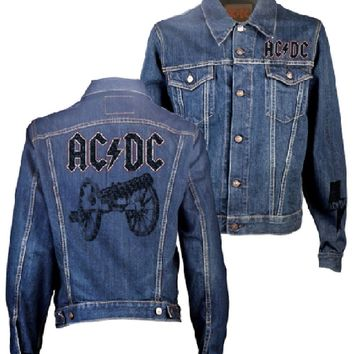 AC/DC Denim Jacket - ACDC Logo For Those About To Rock Album Cover Artwork. Blue Jean Jacket