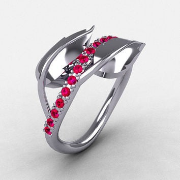 10K White Gold Rubies Leaf and Vine Wedding Ring, Engagement Ring NN113-10KWGR