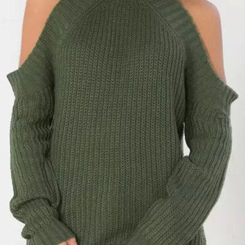Turtle Neck Long Sleeves Pure Color Sweater