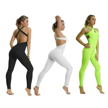 Sports Jumpsuit Yoga Jumpsuit Fitness Sport Women Tracksuit Yoga Backless Gym Running Set Sport Wear Women Clothing