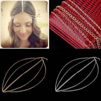 Fashion plated Gold Head Chain Pieces Women Boho Headpiece Headband Metal Chain Hair Head Wrap Jewelry Hot Selling