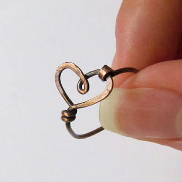 Wire Heart Ring, copper, cute, simple, hammered, oxidized
