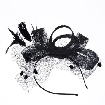 retro veil net yarn banquet Bride hat Headdress Bride Hair Bow Hats Wedding Veil Photo Portrait Flower Feather fedoras Hairpin