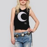 HAILEY MOON CROP TANK - BLACK