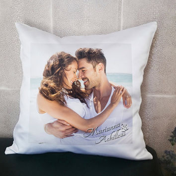Custom Pillow, Personalized Cushion, Photo Pillow, Name Pillow, 14X14 Pillow, Pillow Monogram, Pillow Love, Pillow Couples, Cushion Included