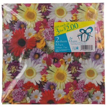 Plus Mark All Occasion Gift Wrap Flowers 8 Pkgs 66.4 sq ft