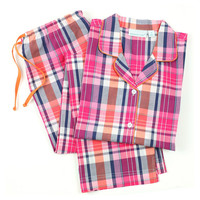 Ruby Long Sleeve Pajamas, Pink/Navy, Pajamas
