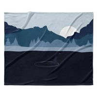 "KESS Original ""Swimming with Nessie"" Blue Fantasy Fleece Throw Blanket"