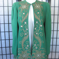 Unique Vintage 1940s Evening Jacket Green Wool Faux Pearls Glass Gold Trim Embellished 34 36 S M Saks Fifth Avenue 40s Glam