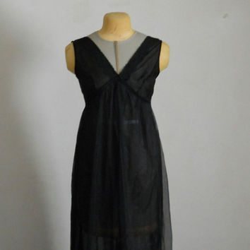 Vintage Black Nightgown Sheer Double Chiffon and Lace Size Large 50s 60s by Lisette / Long Full Length Night Gown Lingerie