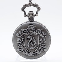 Retro Silver Grey Slytherin Harry Potter Hogwarts College Quartz Pocket Watch Analog Pendant Necklace Mens Womens Watches Gift